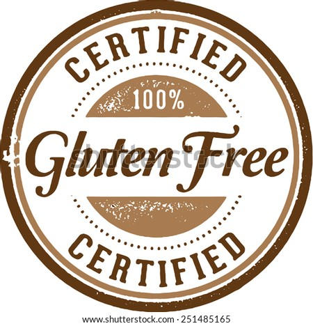 Certified 100% Gluten Free Product Stamp - stock vector