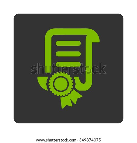 Certified Scroll Document vector icon. Style is flat rounded square button, eco green and gray colors, white background. - stock vector