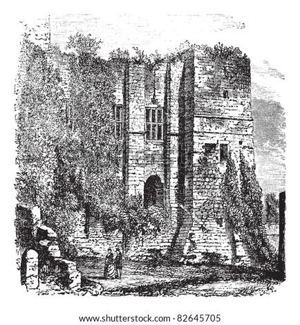 Cesar's tower at Kenilworth Castle, Warwickshire, United Kingdom, vintage engraving. Trousset encyclopedia (1886 - 1891). - stock vector