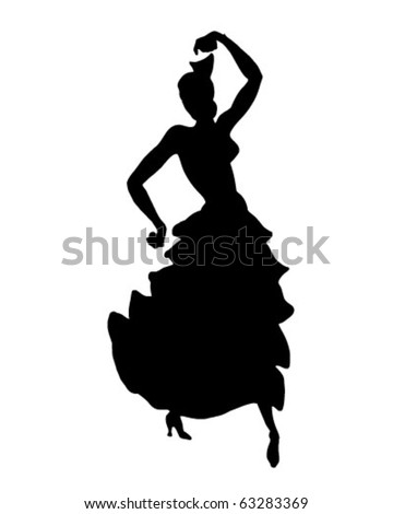 Cha Cha Dancer Silhouette - Retro Clipart Illustration - stock vector