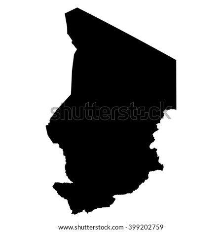 Chad black map on white background vector