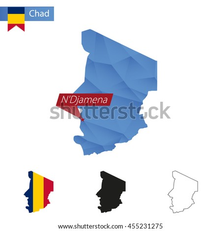 Chad blue Low Poly map with capital N'Djamena, versions with flag, black and outline. Vector Illustration. - stock vector