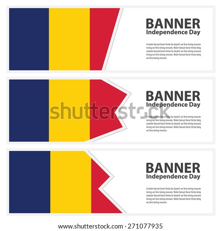 chad Flag banners collection independence day - stock vector