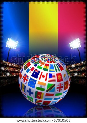 Chad Flag with Globe on Stadium Background Original Illustration