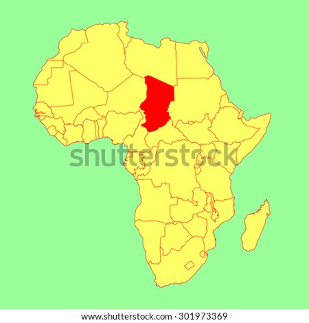 Chad vector map isolated on Africa map. Editable vector map of Africa.   - stock vector