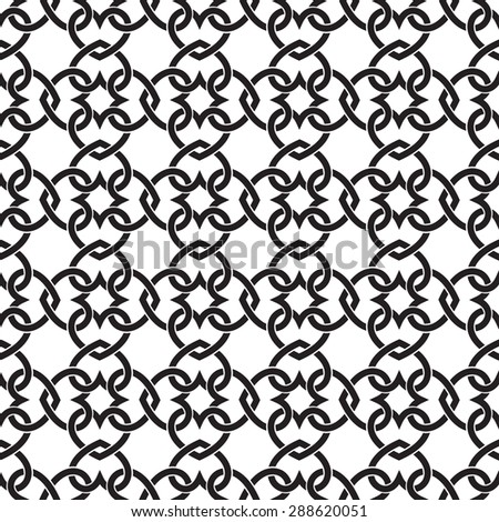 Chain armor of the links in form of hearts. Celtic seamless pattern with swatch for filling. Fashion geometric background for web and tattoo design. - stock vector