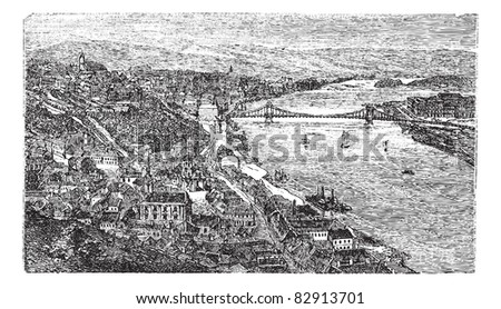 Chain Bridge, suspension bridge, Budapest, Hungary, old engraved illustration of Chain Bridge, Budapest, Hungary, 1890s. Trousset encyclopedia (1886 - 1891). - stock vector