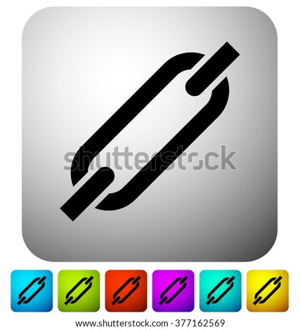 Chain, chain link icon in 6 colors and gray background - stock vector