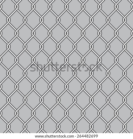 Chain Link Fence, Wire Mesh - stock vector