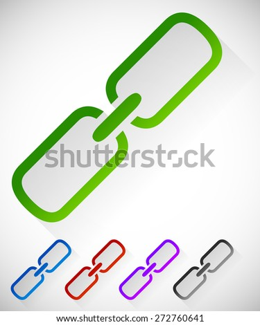 Chain link symbol casting diagonal shadow - stock vector