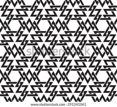 Chain mail of intersecting geometric shapes of lines. Celtic seamless pattern with swatch for filling. Fashion geometric background for web or printing design. - stock vector