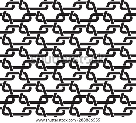 Chain mail of the links in form of trapezes. Celtic seamless pattern with swatch for filling. Fashion geometric background for web and tattoo design. - stock vector