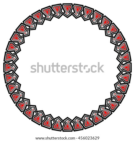 Chain of interlaced pentagon-based elements forming a round frame. Vector black, red and white ornament.