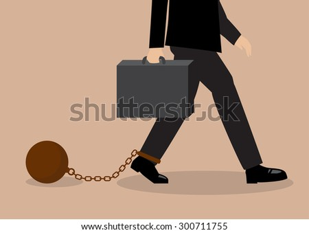 Chained businessman. Business situation concept. - stock vector