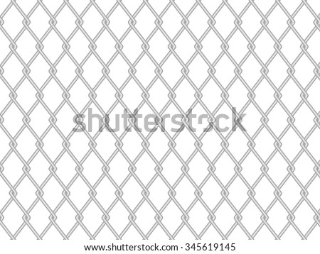 Chainlink fence on a white background. Vector illustration. - stock vector