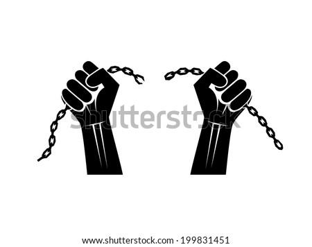 chains broken off by hands - stock vector