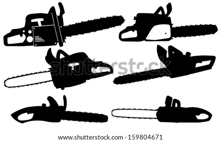 chainsaw set isolated on white - stock vector