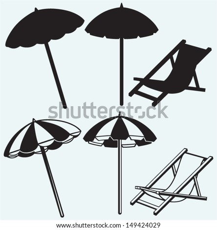 Chair and beach umbrella isolated on blue background - stock vector