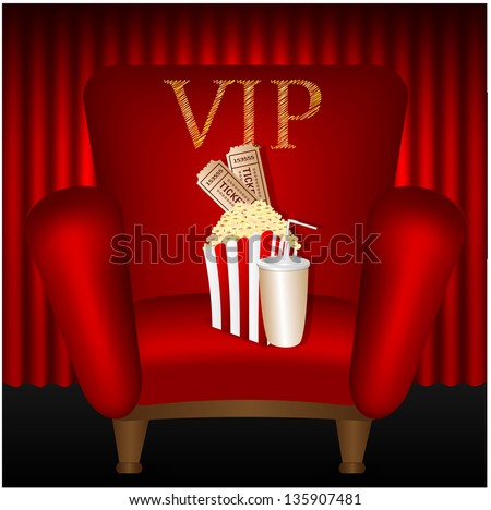 chair and popcorn and a drink on a background of red curtains - stock vector