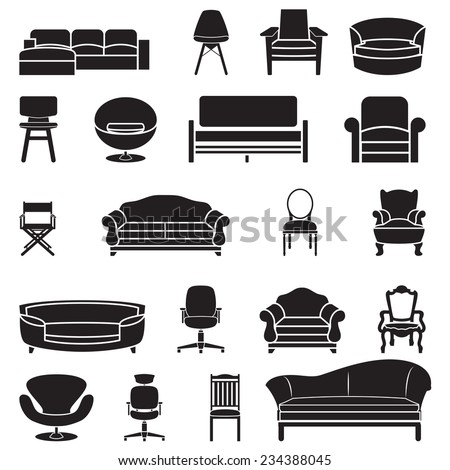 chair and sofa vector set - stock vector