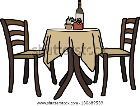 chair and table with wine on it - stock vector