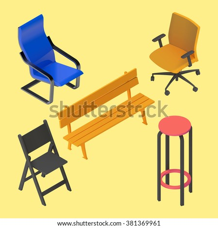 Chair, armchair, stool, bench, furniture vector isometric set. Interior collection element. Office home bar restaurant furniture set chair seat armchair stool lounge element flat 3d isometry  - stock vector