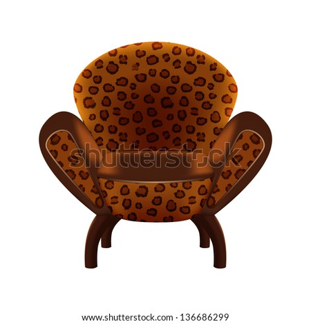 chair in a leopard-print upholstery on white background - vector illustration - stock vector