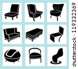 chair set, interior decoration set, furniture design set, icon set - stock photo