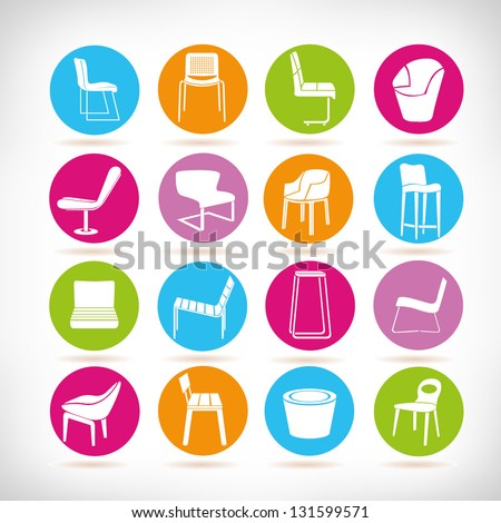chair set, interior design elements - stock vector