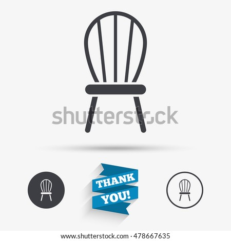 Modern Furniture Icon chair sign icon modern furniture symbol stock illustration