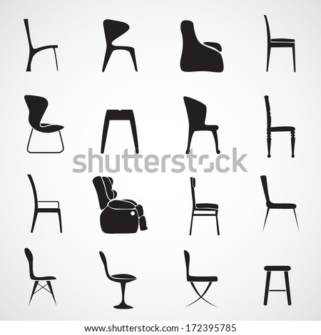 Chair silhouette vector - stock vector
