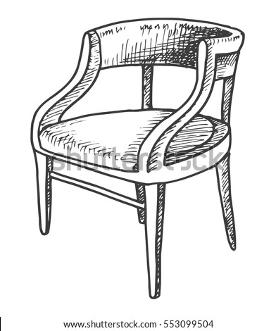chair sketch isolated on white background vector illustration