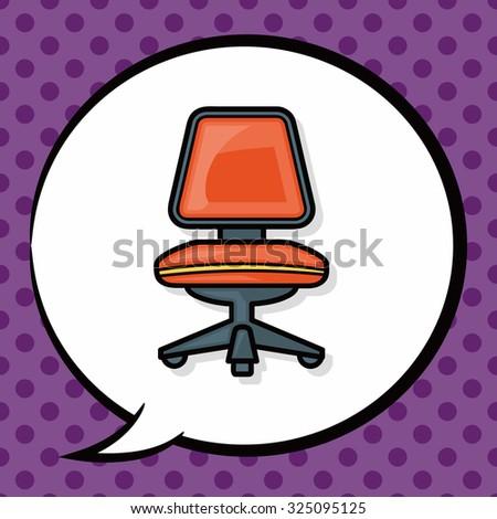 chair sofa doodle, speech bubble - stock vector