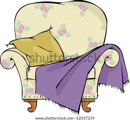 Chair with a pillow and blanket - stock vector