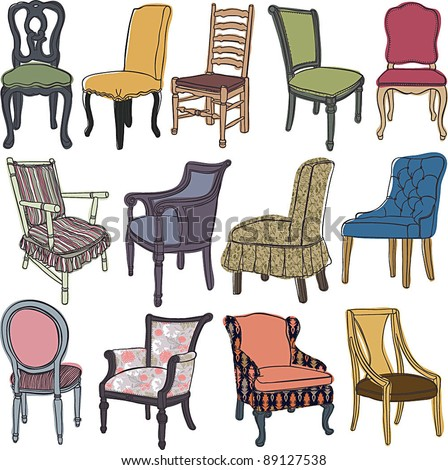 Chairs&armchairs set - stock vector