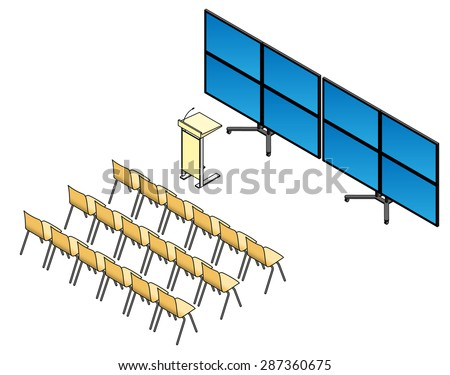Chairs, lectern and screen setup for a presenation, lecture or seminar. With a TV wall made up of 8 flat screen TVs. - stock vector