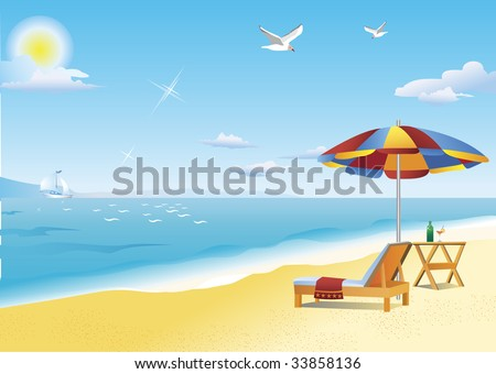 chaise lounge beach table and beach umbrella by the sea hot summer sun illuminates