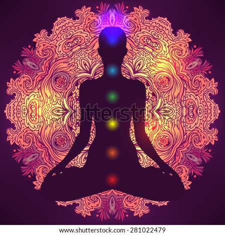 Chakras concept. Silhouette in lotus position over colorful ornate mandala. Vector illustration. - stock vector