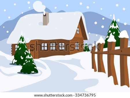 Chalet in Winter, Vector Illustration - stock vector