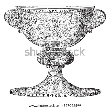 Chalice late twelfth century, silver gilt and decorated with niello figures, vintage engraved illustration. Industrial encyclopedia E.-O. Lami - 1875. - stock vector