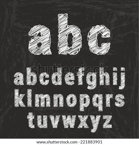 Chalk alphabet on black background. Vector illustration - stock vector