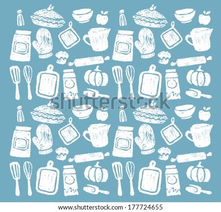 Chalk Bakery Pattern - stock vector