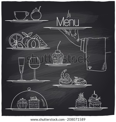 Chalk banquet food symbols on a chalkboard. Eps10 - stock vector