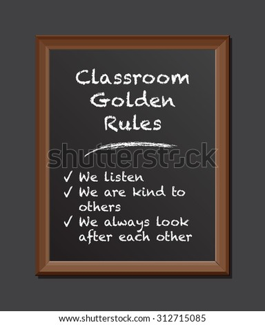 chalk board golden rules - stock vector