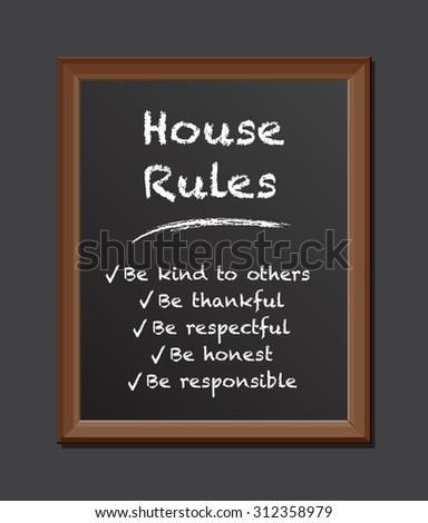 chalk board house rules - stock vector