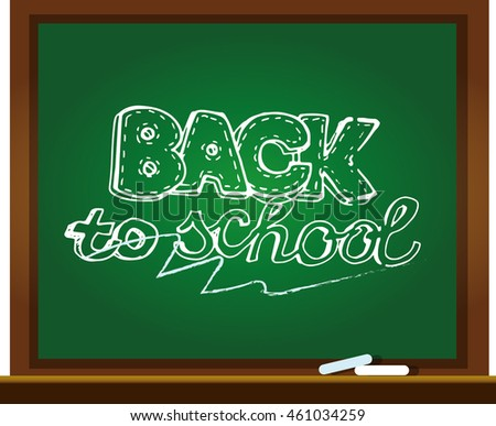 Chalk board vector illustration. Back to school big doodles set. Hand drawn with ink. Vector illustration.Freehand drawing school items. Back to School.