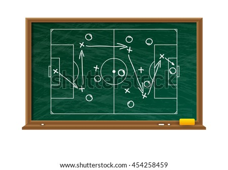 Chalk board with football game field. tacticts strategy and scheme. vector illustration on white background