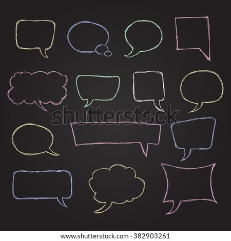 Chalk Colorful Hand Drawn Speech Bubble Skech Set on Black Background. Vector Illustration