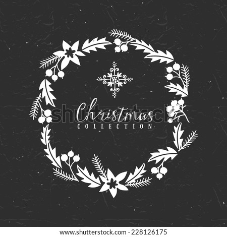 Chalk decorative greeting wreath with snowflake. Christmas collection. Hand drawn illustration. Design elements. - stock vector