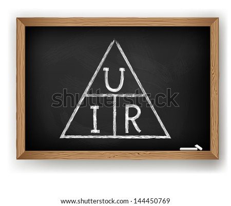 Chalk drawing in the vector. Scheme of Ohm's law - stock vector